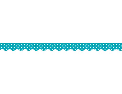 Teacher Created Resources Teal Polka Dots Scalloped Border Trim (5494)