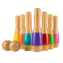 Multi Color Wooden Lawn Bowling Set with Ten 9.5 Inch Pins and 2 Balls - Includes Bonus Carrying Bag! by TMG