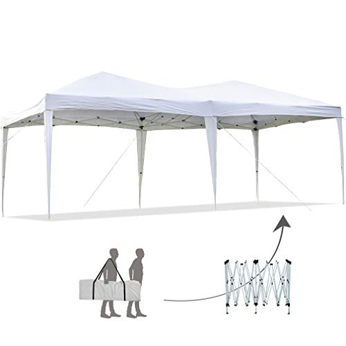 FDW Party Tent Pop Up Canopy Ez up Sun Shade Wedding 10' x 20' Outdoor Gazebo Instant Folding Protable Better Air Circulation with Backpack Bag, White