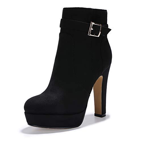 IDIFU Women's Debbie-B Buckle Strap Platform Ankle Booties Round Toe High Chunky Heel Side Zipper Short Boots (Black Suede, 6 M US)