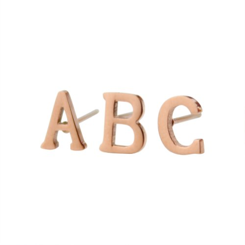 18k Rose Gold Plated Stainless-steel a Pair Initial Earrings 26 Initials Stud Earrings