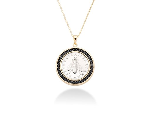 (MiaBella 18K Gold Over Sterling Silver Black Spinel Genuine Italian 2 Lira Bee Coin Pendant Necklace, 18