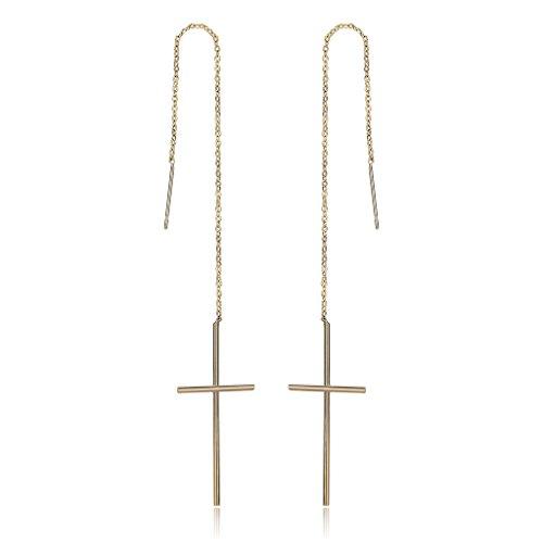 (Epinki Gold Plated Earrings, Womens Long Chain Cross Gold Threader Dangle Earrings)