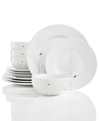 222 Fifth Winter Cardinal 12-Pc Dinnerware Set