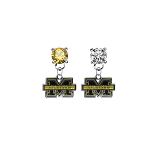 Michigan Wolverines Gold & Clear Crystal Stud Post Dangle Earrings