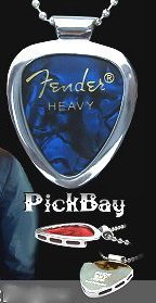 PickBay Chrome Guitar Pick Holder Pendant Necklace w Adjustable Nickel Chain Necklace & PICK Set 24558