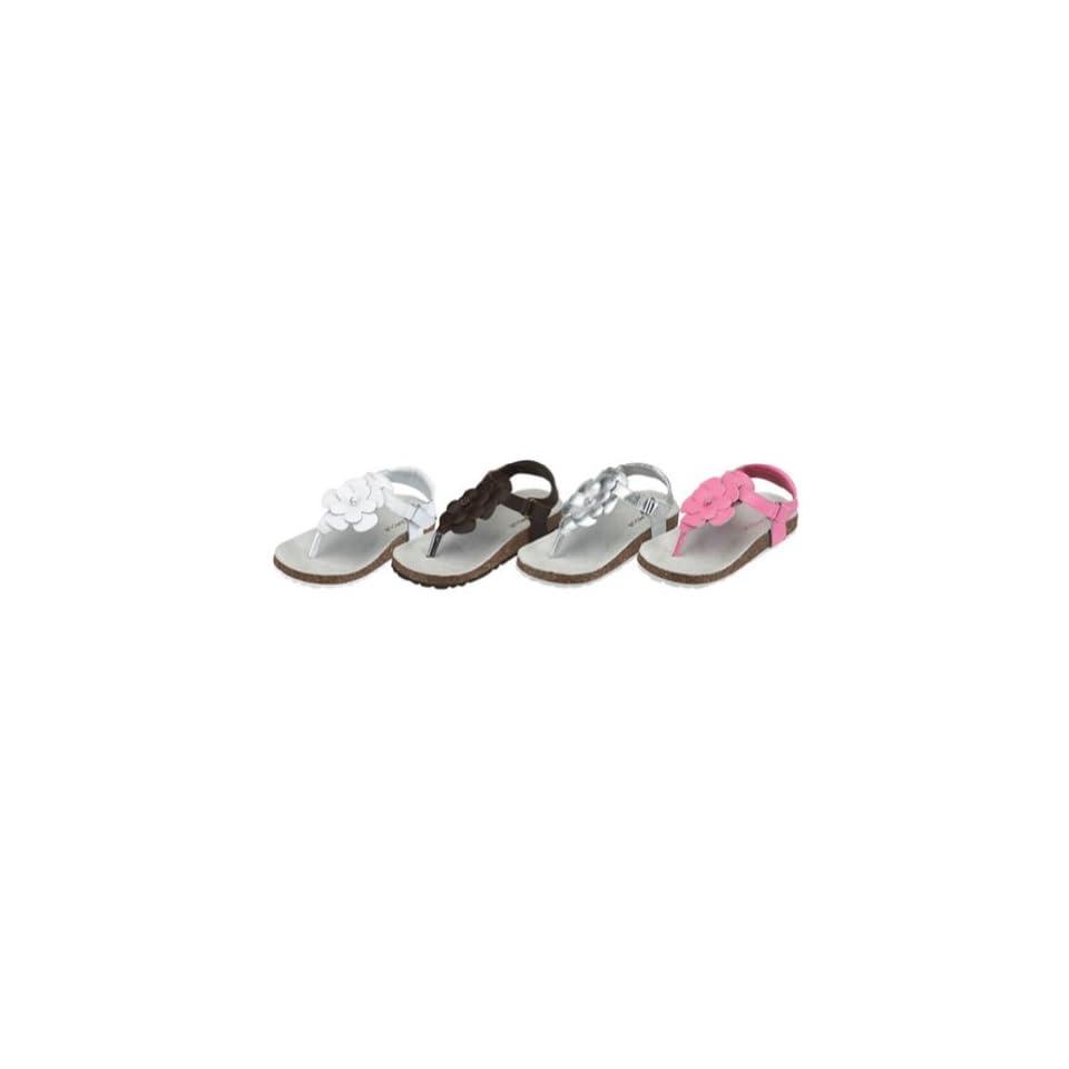 Toddler Little Girls White T Strap Flower Lined Summer Sandal Size 7 4 IM Link Shoes