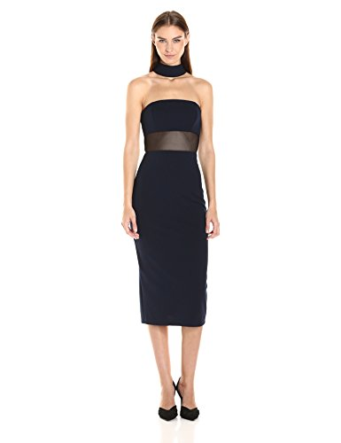 ABS Allen Schwartz Women's Fitted Dress with Choker Neckline in Stretch Crepe Scuba, Navy, 8