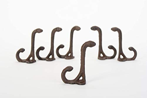 Coat Hat Hooks Cast Iron Lot Set of 6 Double Hook 3