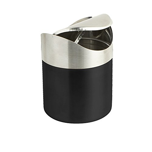 Mini Compost - Mind Reader Mini Counterop Trash Can with Lid, Small Desk Recycling Trash Bin Kitchen Desktop Bathroom Office Wastebasket 1.5 L/0.40 Gal