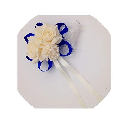 Fashion White Purple Pink Handmade Brides Bridesmaid Flower Wedding Bouquet Hand Flowers Wrist Corsages,Champgne deep Blue