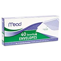Mead Security Envelope, 4 1/8 X 9 1/2, 20 Lb, White, 40/box (Pack of 3)