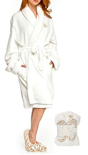 Adrienne Vittadini Women's Soft Plush Comfy Sherpa Lined House Bath Robe & Sherpa Printed Slippers Set,Robe-One Size/Slippers-L(9)/XL(11),White With Beige Zebra Slippers ()