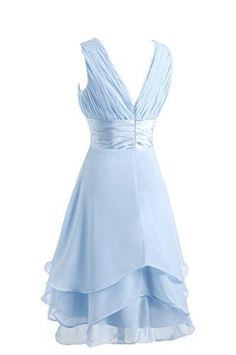Femme Bleu glacier Trapze bleu Bleu Promworld Robe Manche marine Sans wSIfnO4Xxq