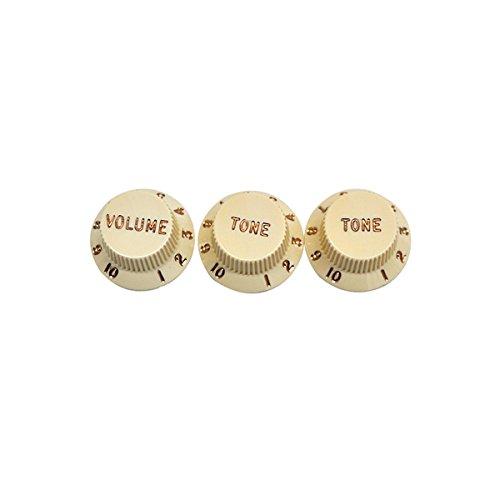 Fender® Stratocaster® Guitar Knobs, Aged White (1 Volume, 2 Tone) 099-1369-000