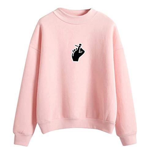 Pink women Finger Sudadera Para Mujer Tops Giulogre nA4zn