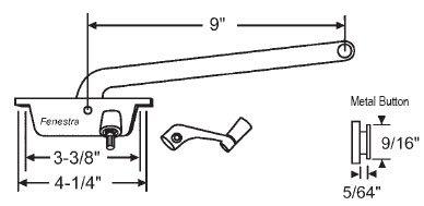 (Casement Window Operator, Left Hand, Face Mount, Aluminum, 9