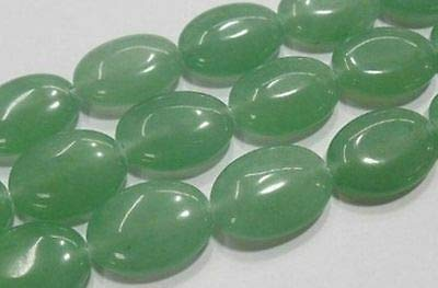 FidgetFidget Natural 13x18mm Green Emerald Gemstones Oval Jade Loose Beads 15