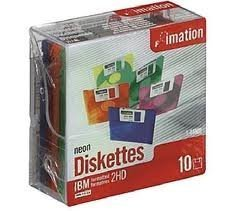 IMATION 10 Pack Diskette, 3.5 in. HD 2MB/1.44MB IBM /DOS Fmt, Neon Colors plastic