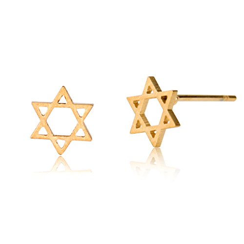HUAN XUN Star David Earrings Stud 18k Gold Plated Stainless Steel 8mm ()