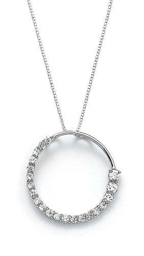 Zircon cubique Argent Sterling CZ pendentif en forme de cercle Motif JewelryWeb voyage