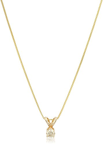 Womens Gold Necklace Diamond (14k Yellow Gold Champagne Diamond Solitaire Pendant Necklace (1/4cttw, I2-I3 Clarity), 18