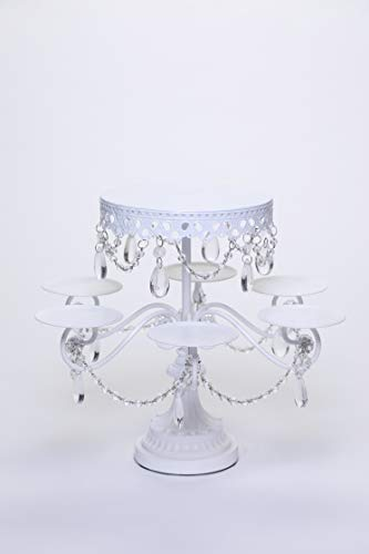 Opulent Treasures (White) Tiered Dessert Stand, Chandelier Accents, Cupcake, Cake Pop, Mini Cake Wedding Dessert Tray with 7 Display Plates