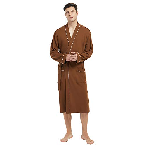 U2SKIIN Mens Cotton Robe Lightweight Knit Bathrobe Brown ()