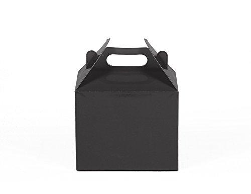 12CT (1 Dozen) Small Biodegradable Kraft / Craft Favor Treat Gable Boxes (Small, Black)