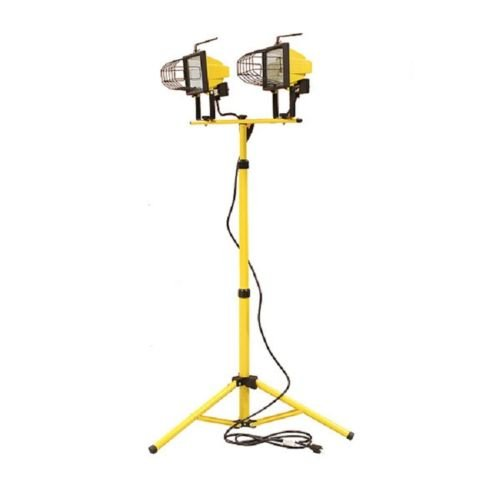 Halogen TWIN Work Light Telescoping Tripod Stand Base Shop Garage Spot Dual Head