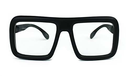 Oversized Square Hipster Thick Frame Unisex Rectangular Glasses (Matte Black-Clear - Glasses Big Lens