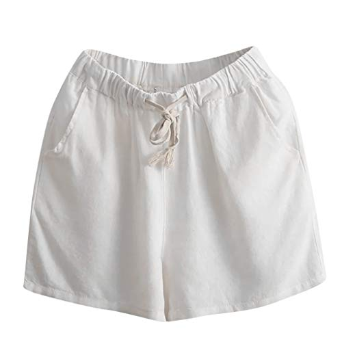 - Sunhusing Women's Solid Color Bohemian Beach Wind Loose Casual Shorts Comfort Lace-Up Pockets Home Shorts White