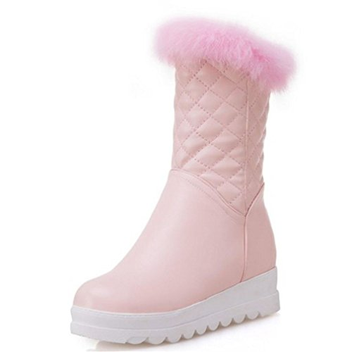 Slinny Women Thick Fur Snow Boots Wedges Boots Platform Warm Shoes Thick Bottoms Boots Women Footwears Pink 4