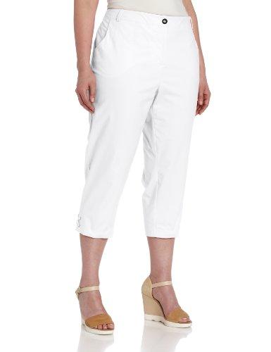 Sag Harbor Women's Plus-Size Solid Twill Crop Pant, White, 24W (Sag White Harbor For Women Pants)