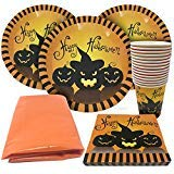(Halloween Tableware Set – Serves 15 Guests – Perfect Party Supplies – 15 Spooky Themed Cups, 15 Plates 30 Napkins and a Large)