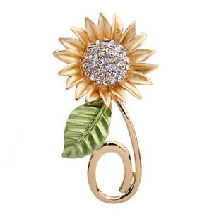 Gold Plated Full Inlay Crystal Sunflower Brooch and Pin -Gift Packaging Included (Sunflower Crystal Brooch)
