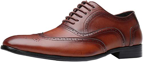 (Men Walk Oxfords Lace Up Leather Shoes Italian Business Dress Shoes (12, Brown))