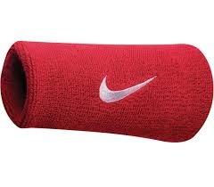 Nike Swoosh Doublewide Wristbands - Varsity Red/White