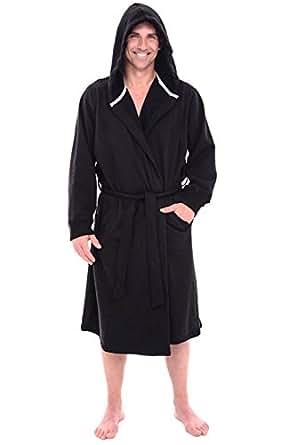 Alexander Del Rossa Mens Cotton Robe, Sweatshirt Style Hooded Bathrobe, Small Medium Black (A0311BLKMD)