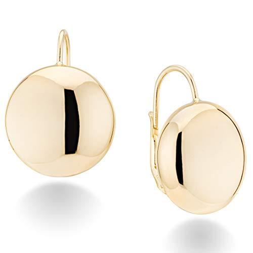 (MiaBella 18K Gold Over Sterling Silver Italian Flattened Bead Ball Statement Leverback Earrings, 12mm, 18mm (18))
