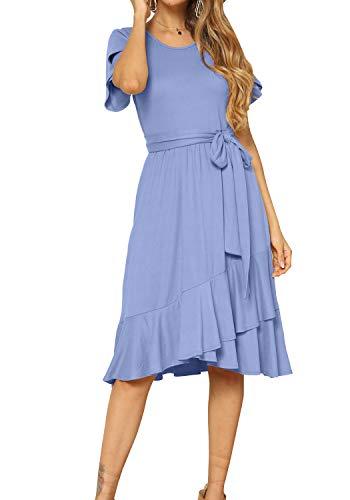 levaca Women Summer Short Sleeve Casual Flowy Midi Dress Light Blue M
