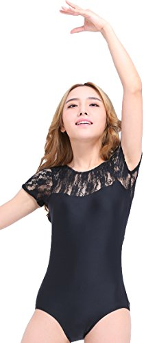 ant Ballet Dance Lace Short Sleeve Leotard, XXL, Black (Adult Short Sleeve Leotard)