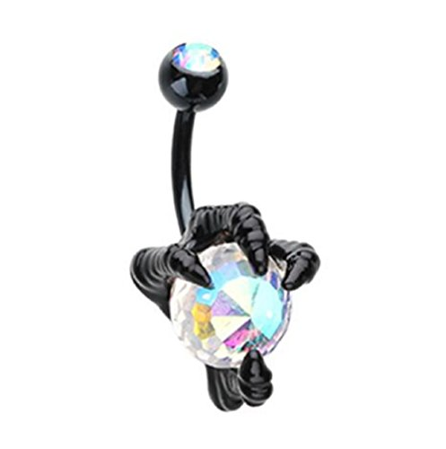 Freedom Fashion Black Dragon's Claw Colorline Steel Belly Button Ring (Sold by -