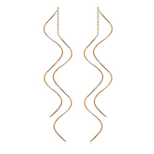 FAUOI Threader Wave Dangle Earrings Hypoallergenic Lightweight Cutout Thin Wire Drop Dangles - Plated in 18k Gold