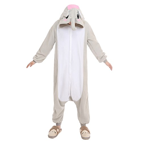 NEWCOSPLAY Halloween Christmas Unisex Adult Elephant Cosplay Pajamas (M, grey elephant) (Elephant Onesies For Adults)