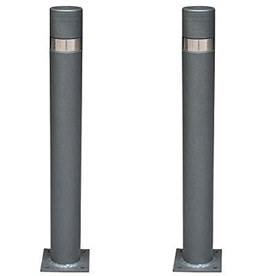 Bolardo de hierro con parte superior en acero inoxidablede 95x800 mm para atornillar a suelo Pilona fija reforzada con placa interior modelo City 1-Pilona
