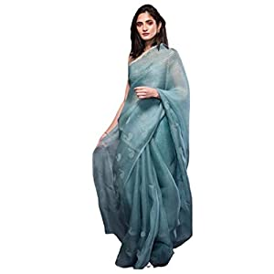 Rosebud Women's Woven Organza Silk Saree With Blouse Piece