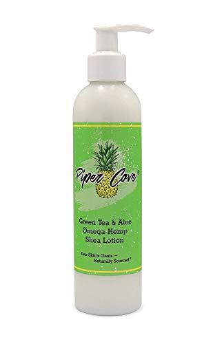 BODY LOTION FOR DRY SKIN - Omega-Hemp Deep Moisturizing Hand and Body Cream, Organic Shea Butter and Hempseed Oil, All Natural, Vegan, 8 oz. (Green Tea & Aloe) - Piper Cove