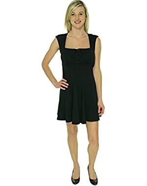 GUESS Women's Black A-Line Back Cut Out Dress