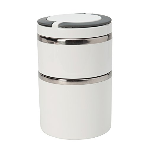 Kitchen Details 2 Tier Round Stainless Steel White Twist Open Insulated Lunch Box Container Thermos, Good for Soup and Hot - Block Steel Thermo Stainless